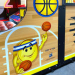 Connect four hoops Arcade Game Graphics side for rent from Video Amusement