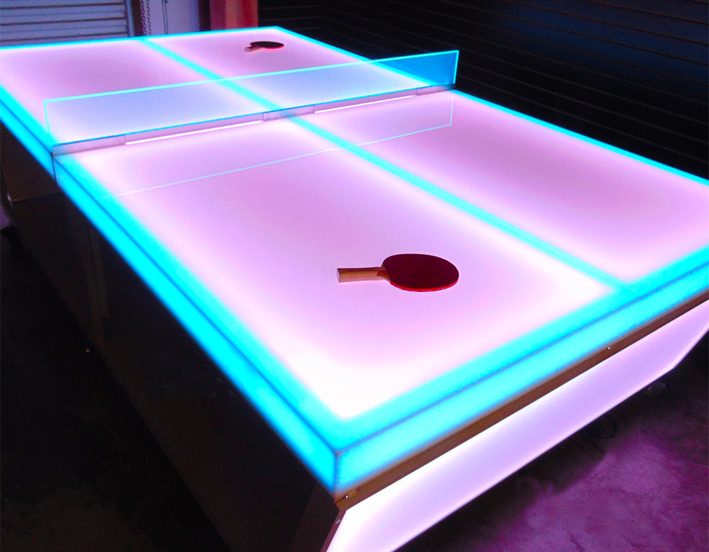 LED Glow Ping Pong Rental San Francisco at Video Amusement