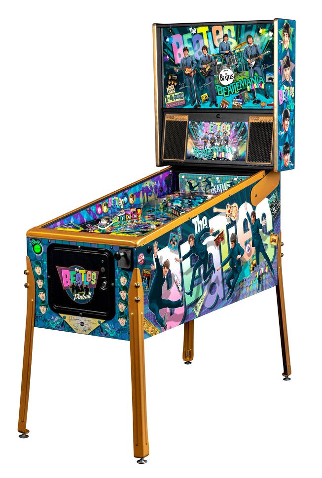 The Beatles GOLD Pinball Stern Pinball machine is available for rent from Video Amusement and Arcade Party Rental