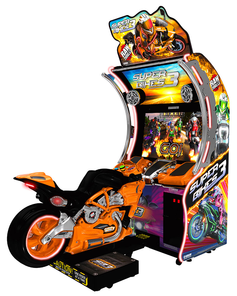 Super Bikes 3 Orange Raw Thrills Motorcycle Arcade Game For Rental San Francisco California