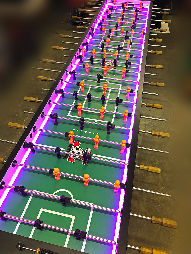 Supersized 12-player Glow LED Foosball Table Valley Tornado for rent