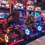 ATV Slam Dirt Racing Simulator Arcade Game 4 cabinets linked during event rental in Los Angeles.