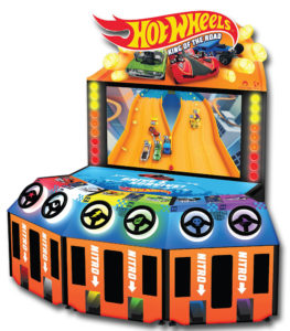 Hot Wheels 6 player racing game from Adrenaline Amusements for rental available from Video Amusement.